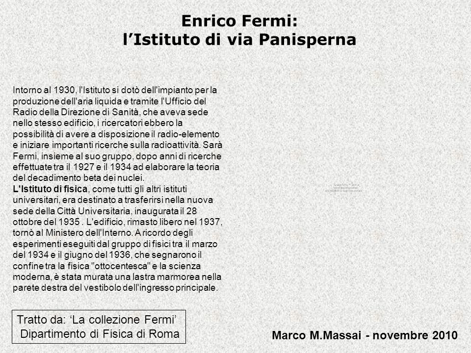 Enrico Fermi: l'Istituto di via Panisperna