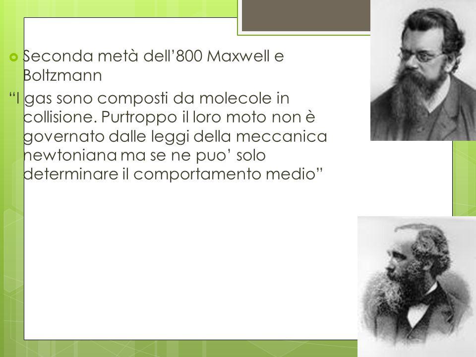 Seconda metà dell'800 Maxwell e Boltzmann
