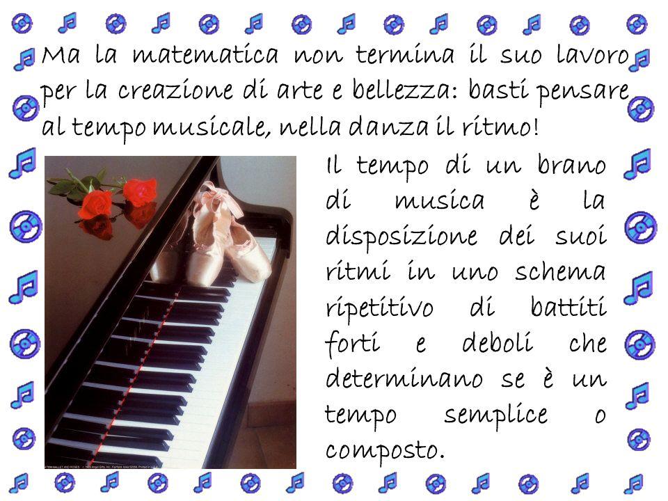 Ma la matematica non termina il suo lavoro per la creazione di arte e bellezza: basti pensare al tempo musicale, nella danza il ritmo!