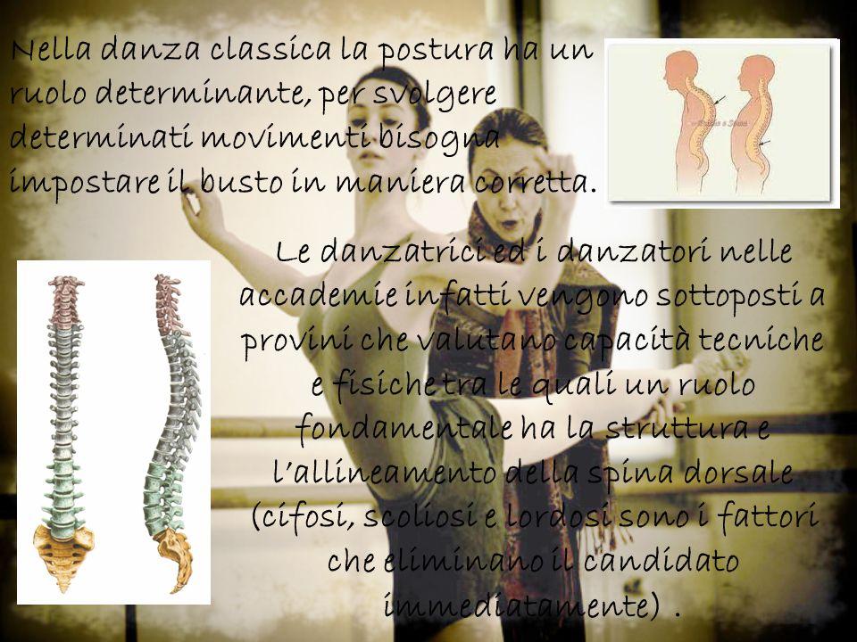 Nella danza classica la postura ha un ruolo determinante, per svolgere determinati movimenti bisogna impostare il busto in maniera corretta.
