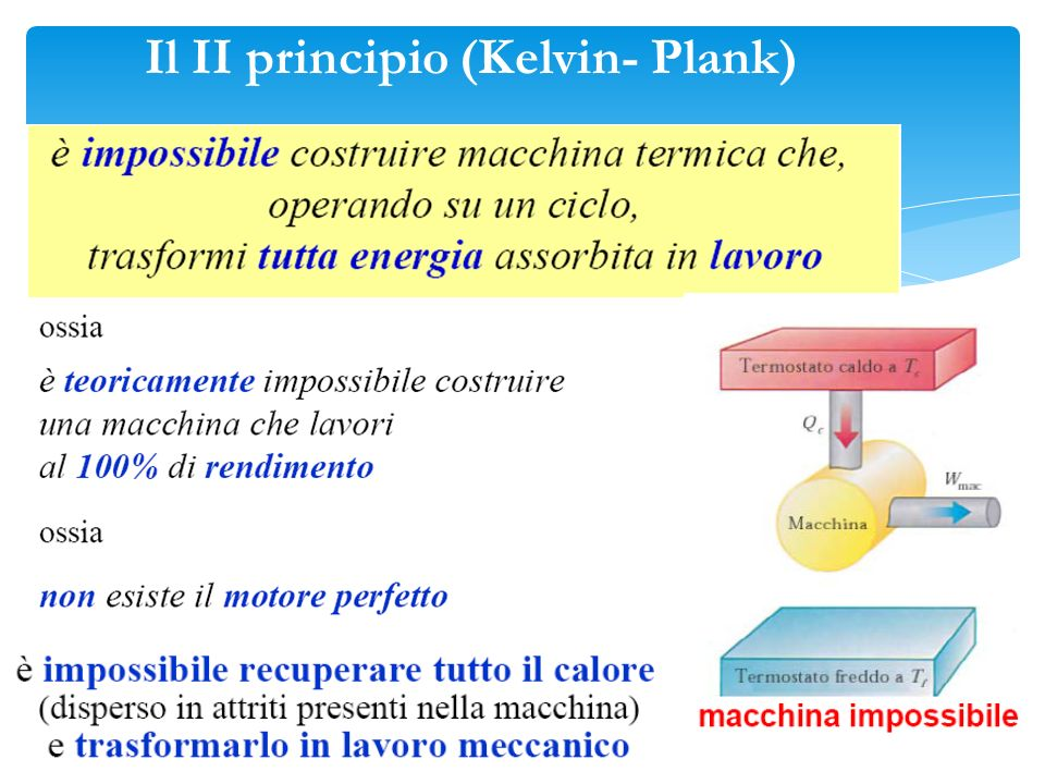 Il II principio (Kelvin- Plank)
