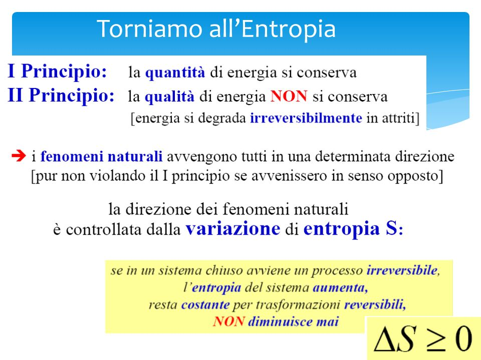 Torniamo all'Entropia
