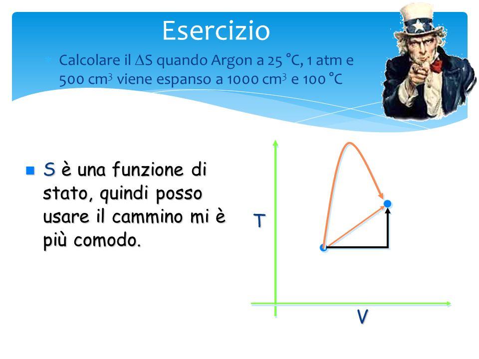 Esercizio Calcolare il DS quando Argon a 25 °C, 1 atm e 500 cm3 viene espanso a 1000 cm3 e 100 °C. V.
