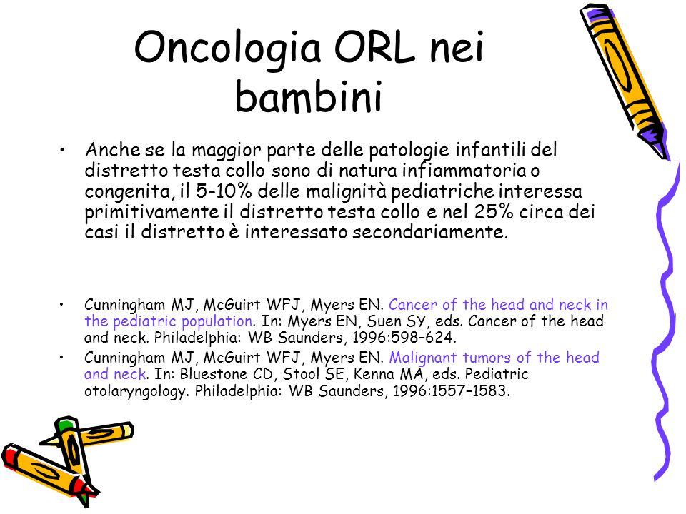 Oncologia ORL nei bambini