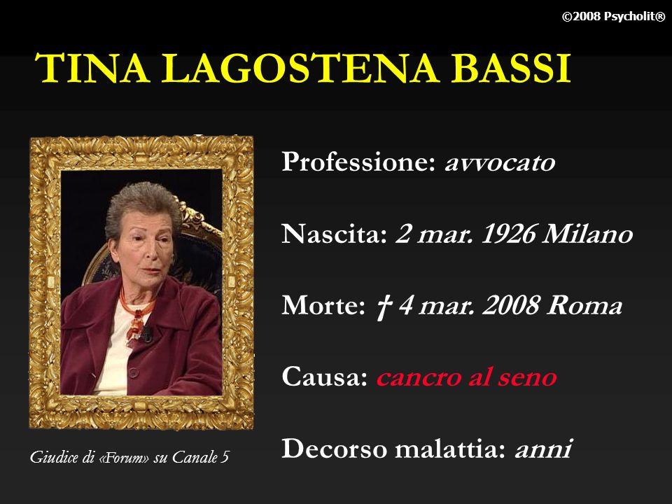 TINA LAGOSTENA BASSI Professione: avvocato Nascita: 2 mar. 1926 Milano
