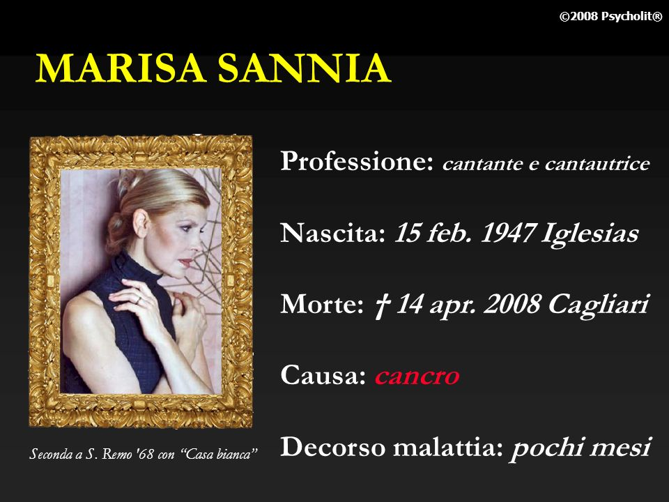 MARISA SANNIA Professione: cantante e cantautrice