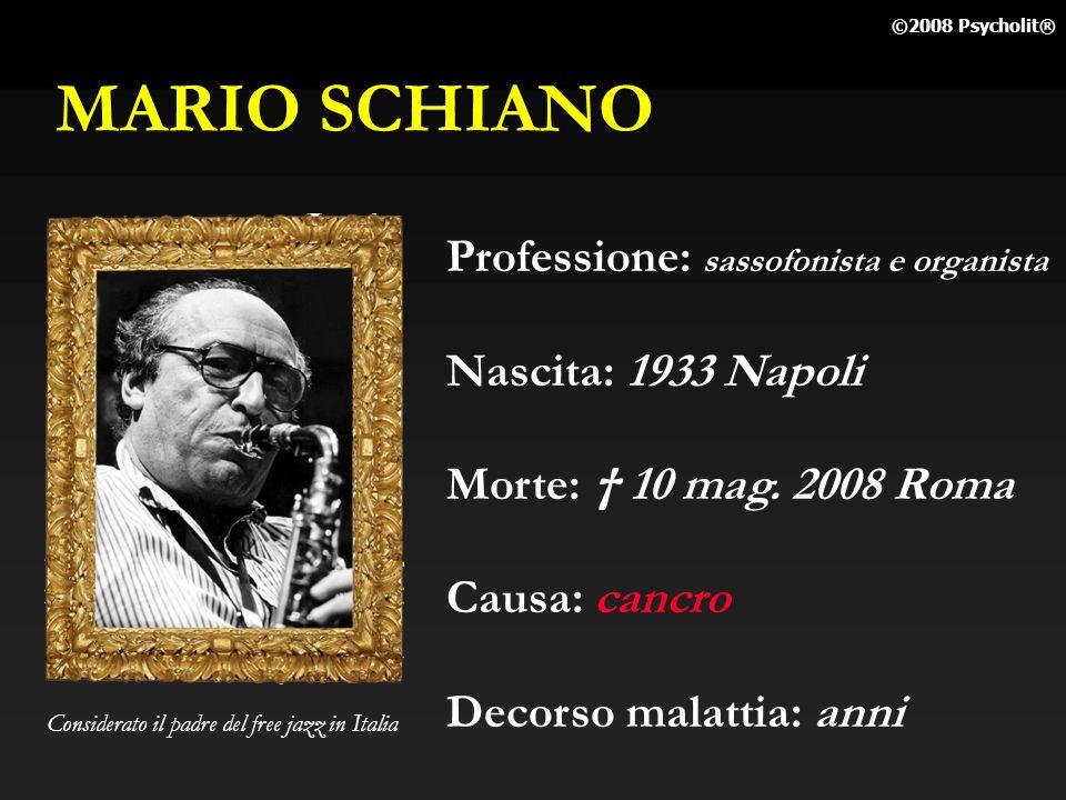 MARIO SCHIANO Professione: sassofonista e organista
