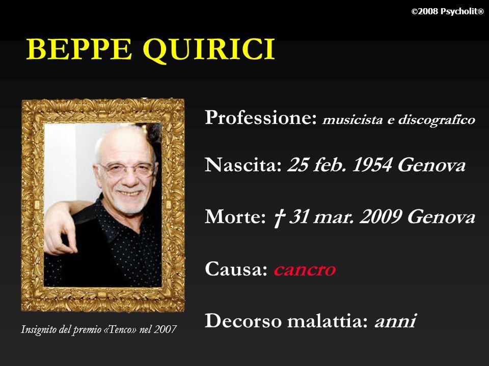 BEPPE QUIRICI Professione: musicista e discografico