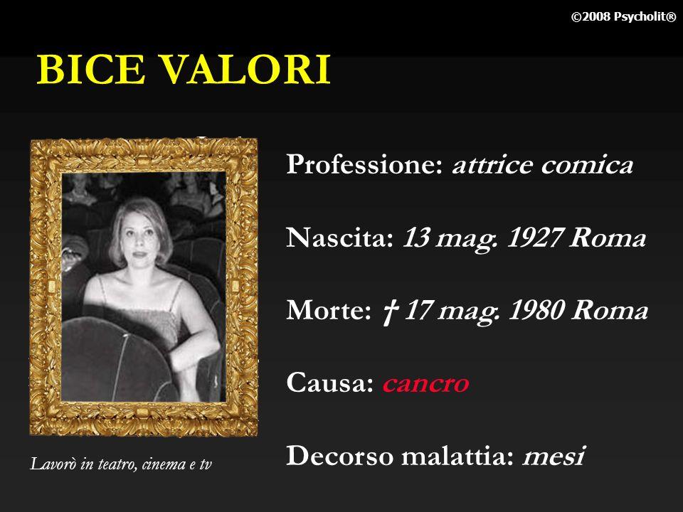 BICE VALORI Professione: attrice comica Nascita: 13 mag. 1927 Roma