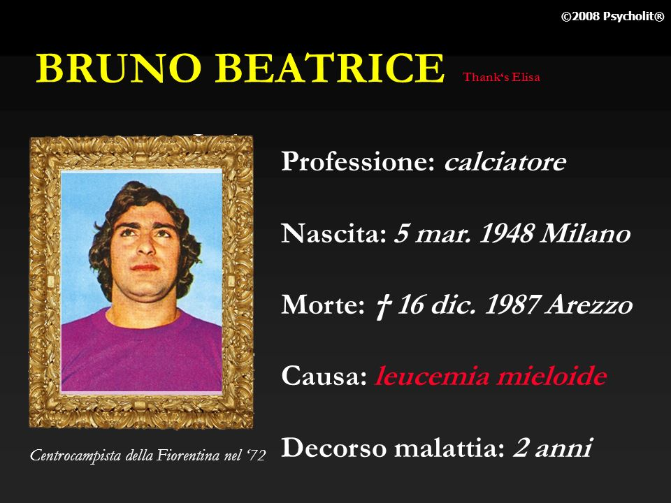 BRUNO BEATRICE Professione: calciatore Nascita: 5 mar. 1948 Milano