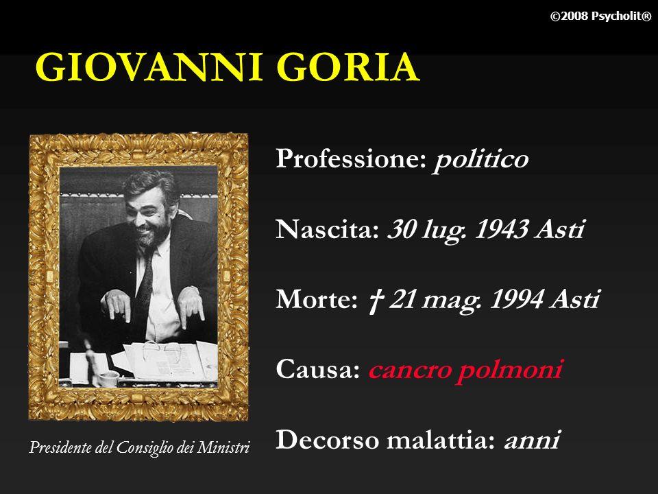 GIOVANNI GORIA Professione: politico Nascita: 30 lug. 1943 Asti