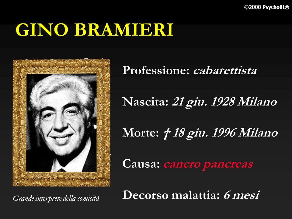 GINO BRAMIERI Professione: cabarettista Nascita: 21 giu. 1928 Milano