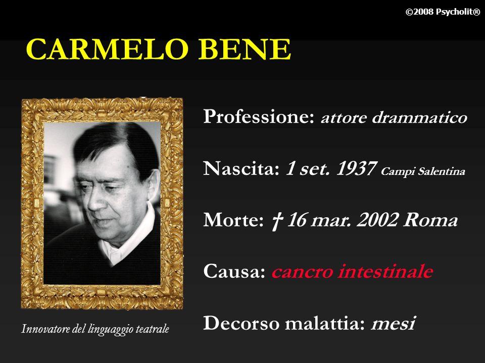 CARMELO BENE Professione: attore drammatico
