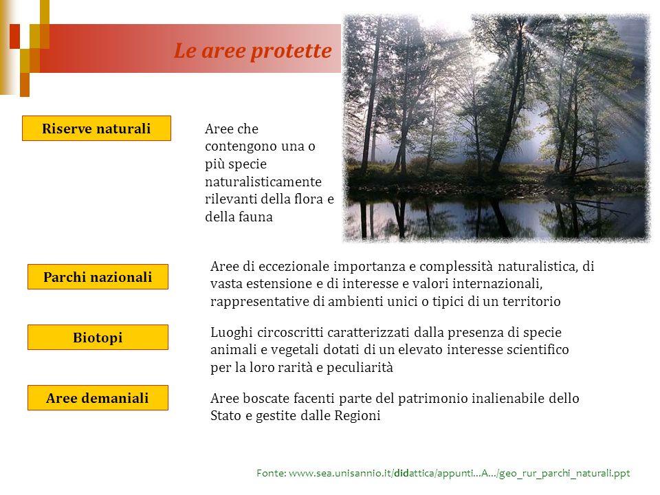 Le aree protette Riserve naturali