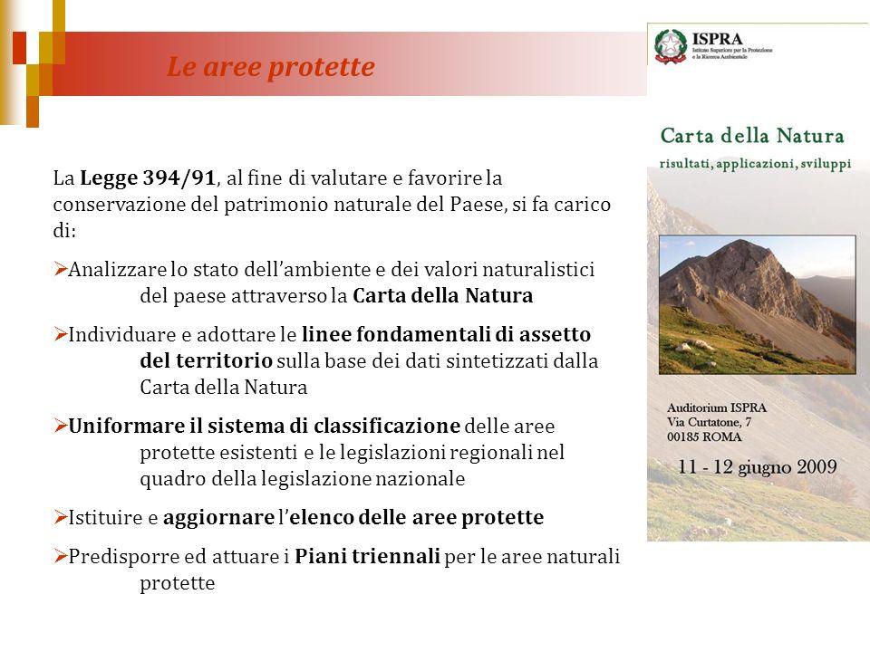 Le aree protette La Legge 394/91, al fine di valutare e favorire la conservazione del patrimonio naturale del Paese, si fa carico di:
