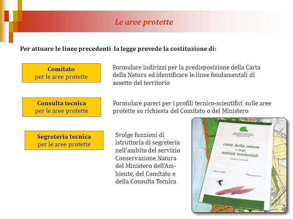 Le aree protette Per attuare le linee precedenti la legge prevede la costituzione di: Comitato per le aree protette.