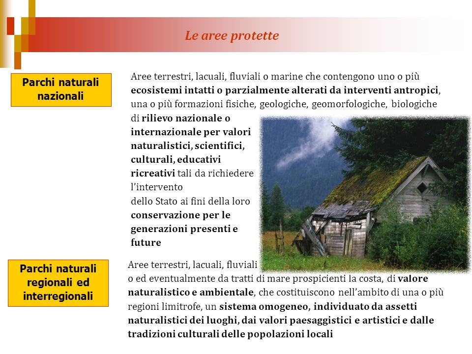 Parchi naturali nazionali Parchi naturali regionali ed interregionali