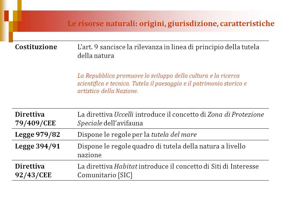 Le risorse naturali: origini, giurisdizione, caratteristiche