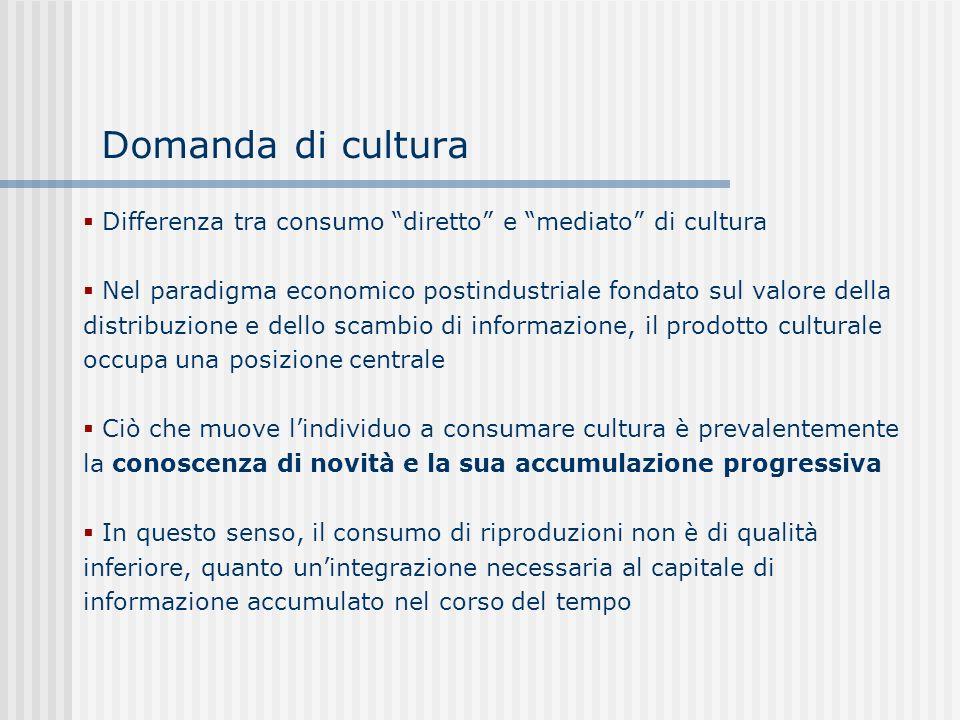 Domanda di cultura Differenza tra consumo diretto e mediato di cultura.
