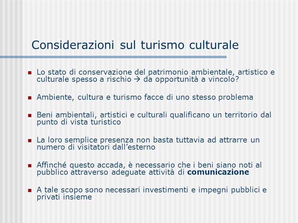 Considerazioni sul turismo culturale