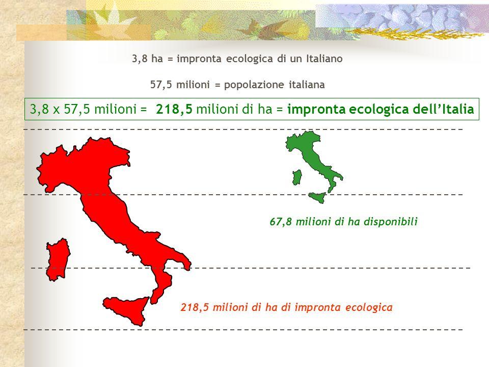 3,8 ha = impronta ecologica di un Italiano