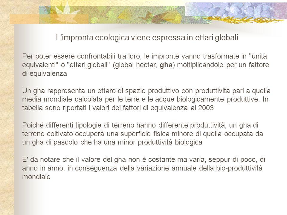 L impronta ecologica viene espressa in ettari globali