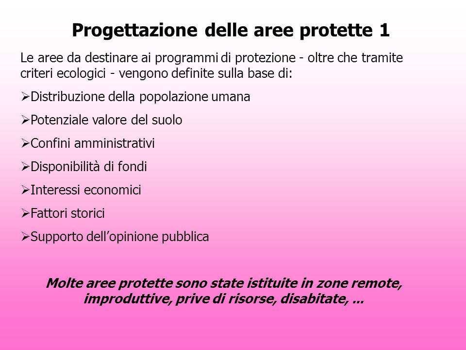 Progettazione delle aree protette 1