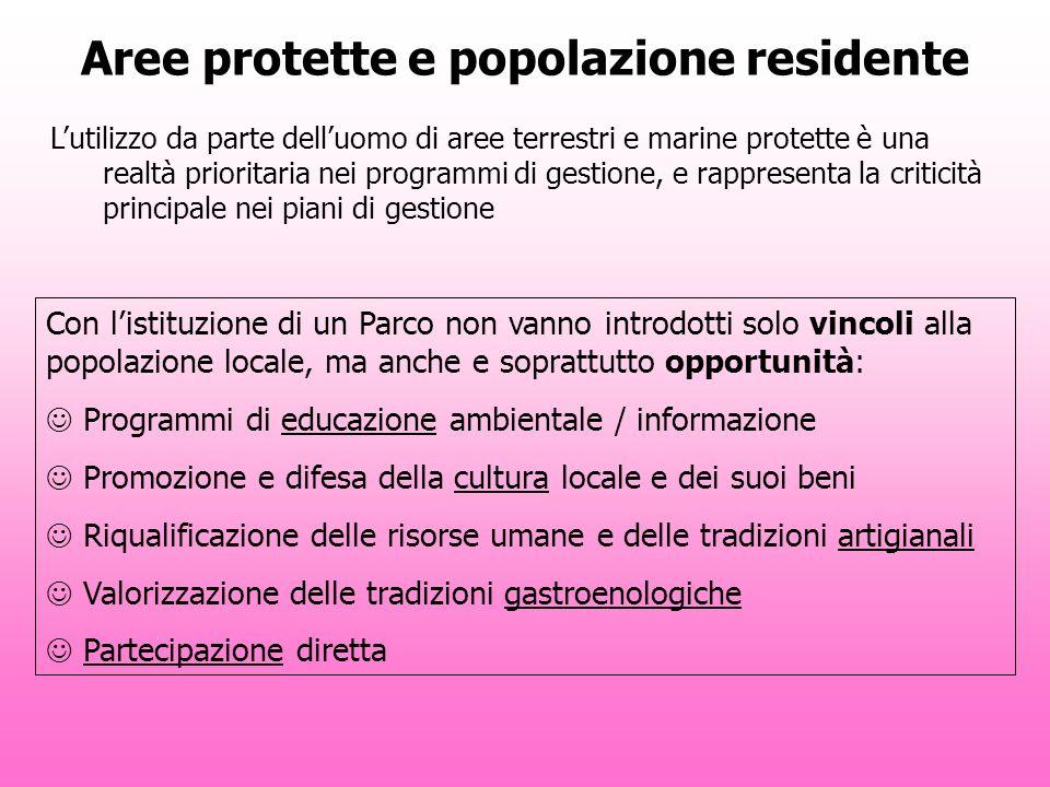 Aree protette e popolazione residente