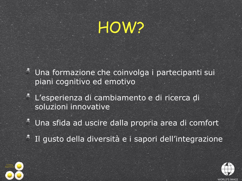 HOW Una formazione che coinvolga i partecipanti sui piani cognitivo ed emotivo. L'esperienza di cambiamento e di ricerca di soluzioni innovative.