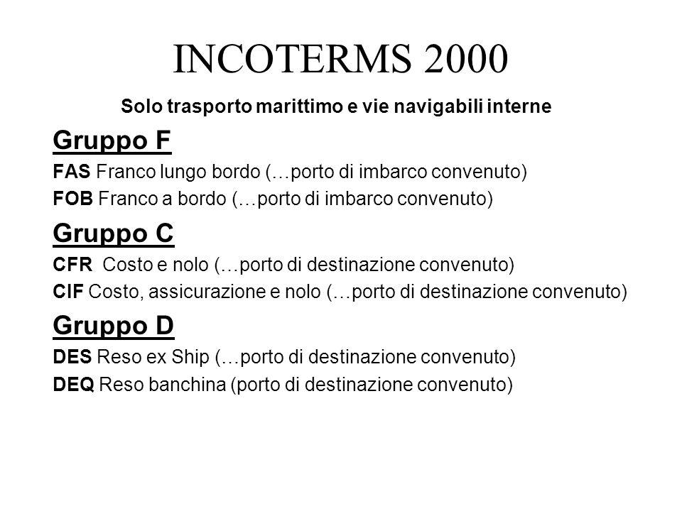 INCOTERMS 2000 Gruppo F Gruppo C Gruppo D