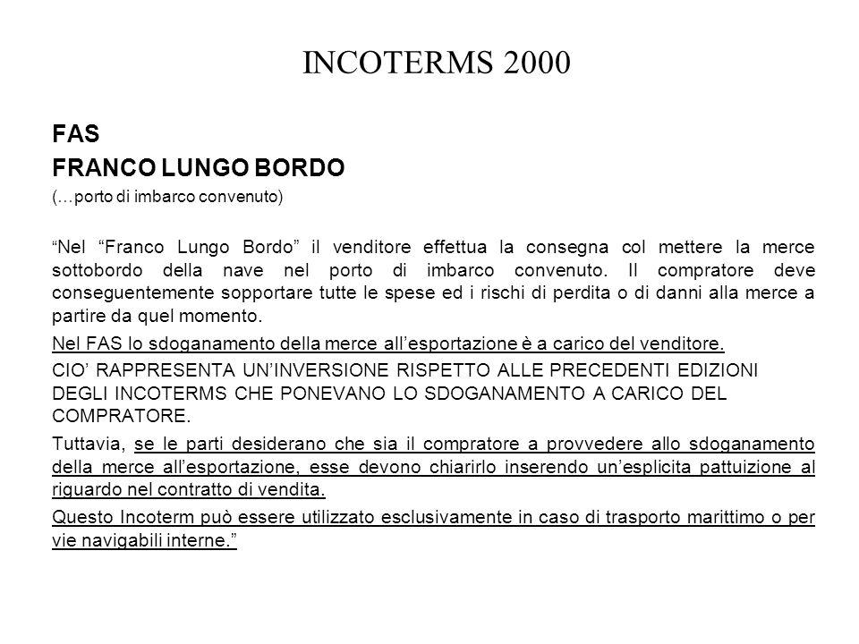 INCOTERMS 2000 FAS FRANCO LUNGO BORDO