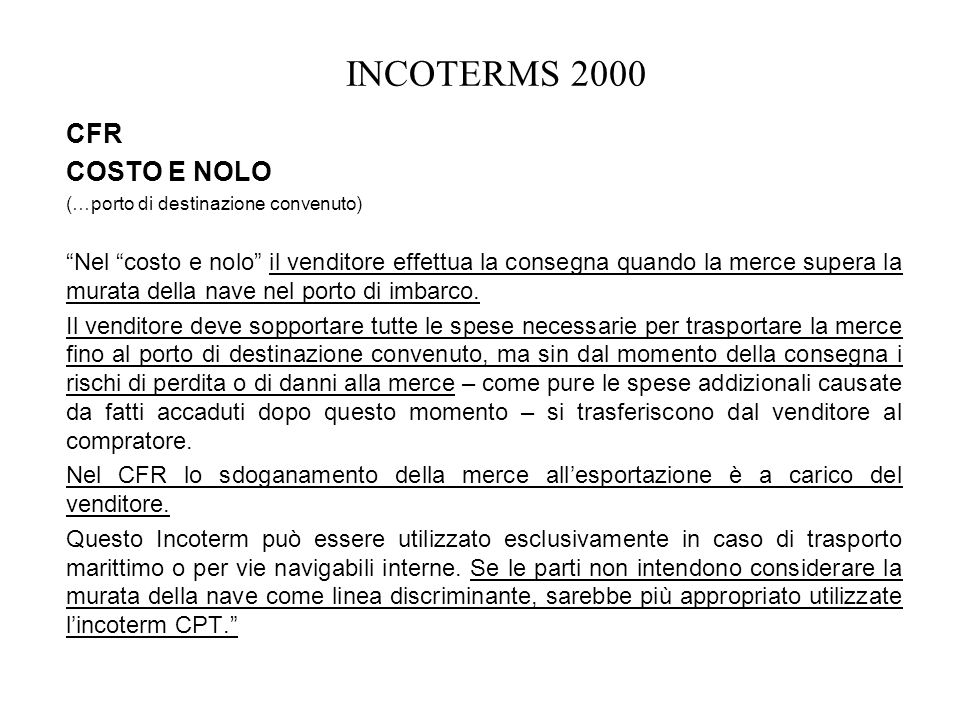 INCOTERMS 2000 CFR COSTO E NOLO