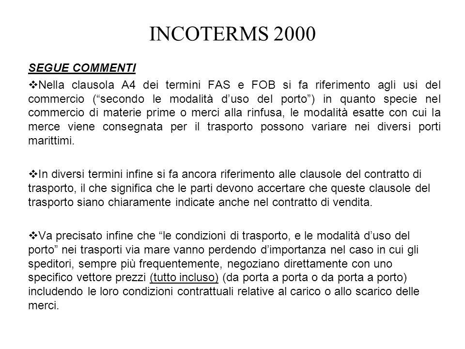 INCOTERMS 2000 SEGUE COMMENTI