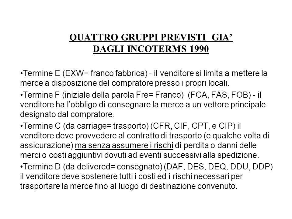 QUATTRO GRUPPI PREVISTI GIA' DAGLI INCOTERMS 1990