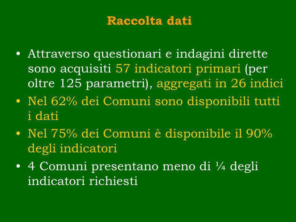 Nel 62% dei Comuni sono disponibili tutti i dati