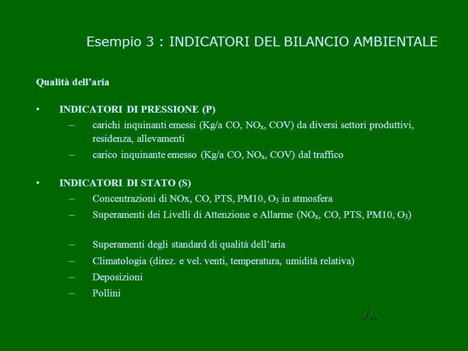 ./.. Esempio 3 : INDICATORI DEL BILANCIO AMBIENTALE Qualità dell'aria
