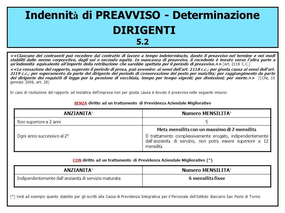 Indennità di PREAVVISO - Determinazione DIRIGENTI 5.2