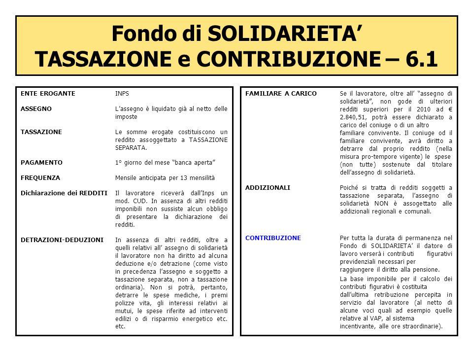 Fondo di SOLIDARIETA' TASSAZIONE e CONTRIBUZIONE – 6.1