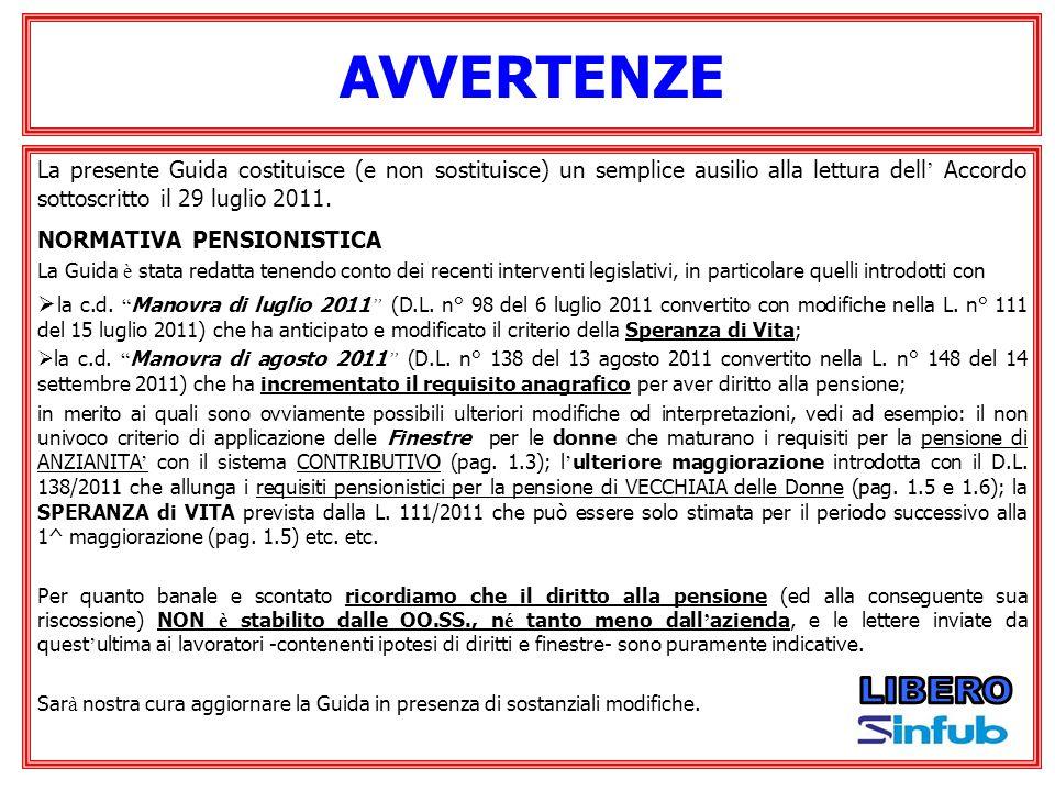 AVVERTENZE La presente Guida costituisce (e non sostituisce) un semplice ausilio alla lettura dell' Accordo sottoscritto il 29 luglio 2011.