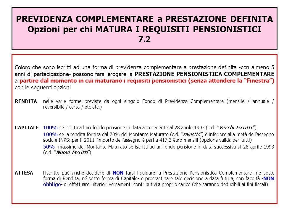 PREVIDENZA COMPLEMENTARE a PRESTAZIONE DEFINITA Opzioni per chi MATURA I REQUISITI PENSIONISTICI 7.2