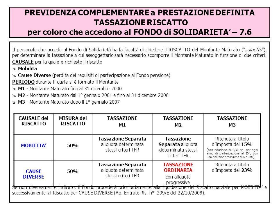 PREVIDENZA COMPLEMENTARE a PRESTAZIONE DEFINITA TASSAZIONE RISCATTO per coloro che accedono al FONDO di SOLIDARIETA' – 7.6