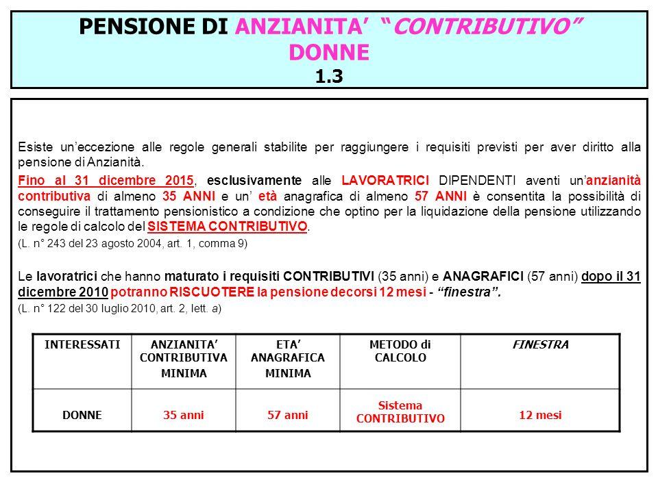PENSIONE DI ANZIANITA' CONTRIBUTIVO DONNE 1.3
