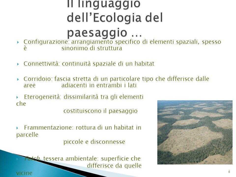 Il linguaggio dell'Ecologia del paesaggio …