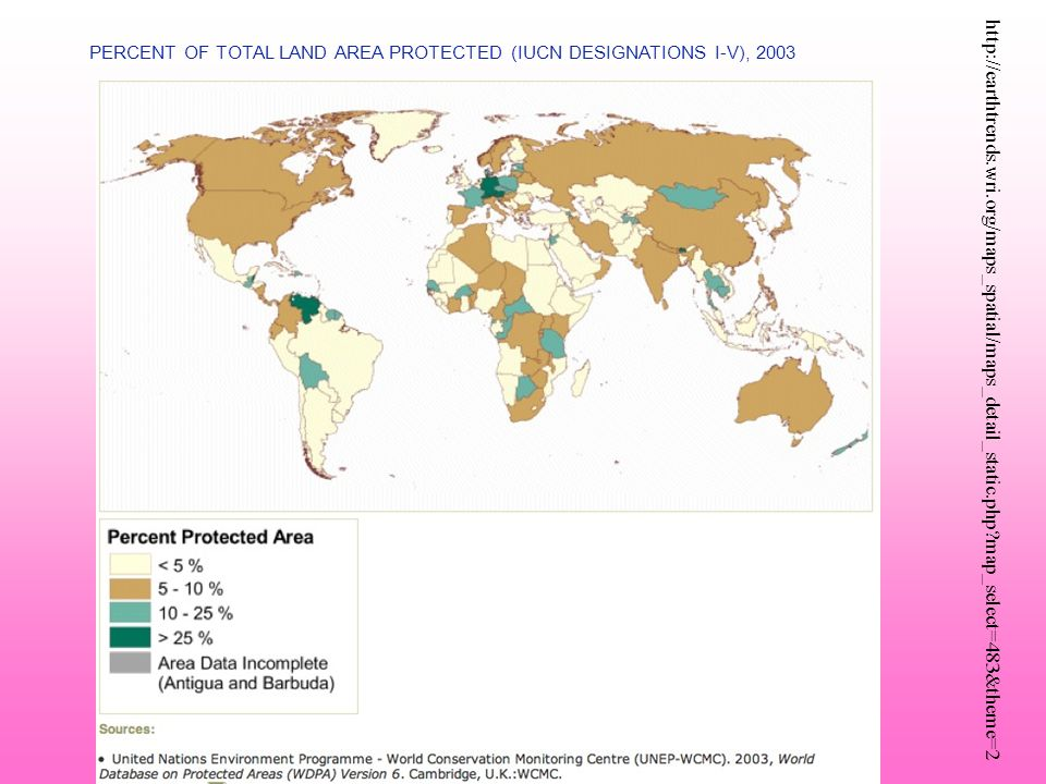 PERCENT OF TOTAL LAND AREA PROTECTED (IUCN DESIGNATIONS I-V), 2003