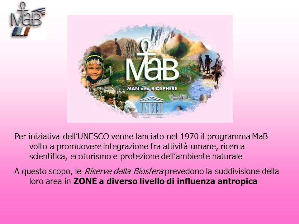 Per iniziativa dell'UNESCO venne lanciato nel 1970 il programma MaB volto a promuovere integrazione fra attività umane, ricerca scientifica, ecoturismo e protezione dell'ambiente naturale
