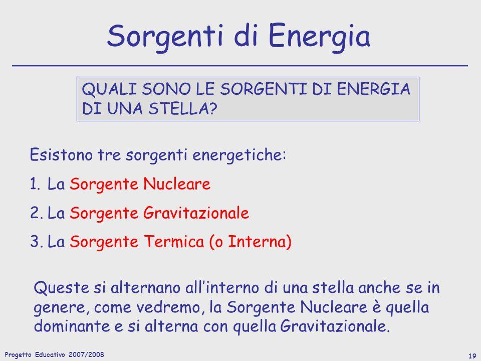 Sorgenti di Energia QUALI SONO LE SORGENTI DI ENERGIA DI UNA STELLA