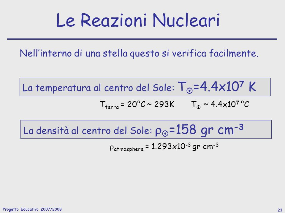 Le Reazioni Nucleari Nell'interno di una stella questo si verifica facilmente. La temperatura al centro del Sole: T=4.4x107 K.