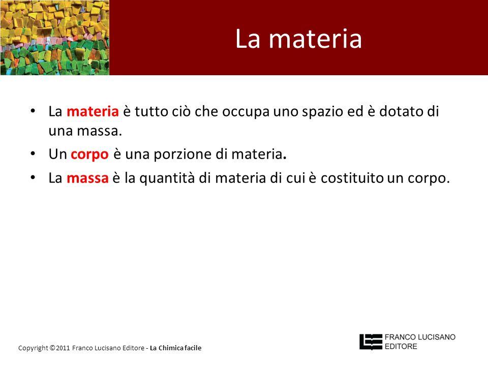 La materia La materia è tutto ciò che occupa uno spazio ed è dotato di una massa. Un corpo è una porzione di materia.