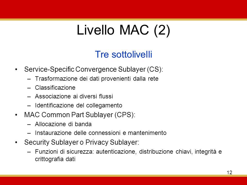 Livello MAC (2) Tre sottolivelli