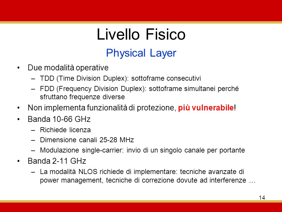 Livello Fisico Physical Layer Due modalità operative